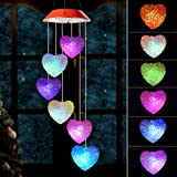 Wind chimes outdoor, gifts for mom, solar wind chimes ,Heart wind chime ,outdoor decor, mom gifts,mom birthday gift,gardening gifts,grandma gifts, color wind chimes solar,windchimes unique outdoor