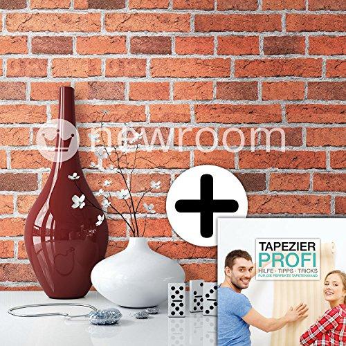 steintapete in rot sch ne edle tapete im steinmauer. Black Bedroom Furniture Sets. Home Design Ideas