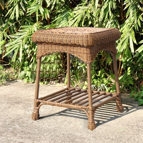 Outdoor Honey Wicker Patio Furniture End Table photo