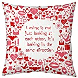 Valentine Gifts for Boyfriend Girlfriend Love Printed Cushion 12X12 Filled Pillow White Togetherness in Love Gift for Him Her Fiance Spouse Birthday Anniversary Everyday Gift
