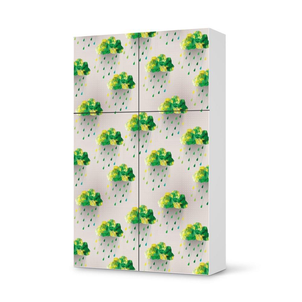 Folie IKEA Besta Schrank Hochkant 4 Türen (2+2) / Design Aufkleber Rainy Clouds – Grün / Dekorationselement jetzt bestellen