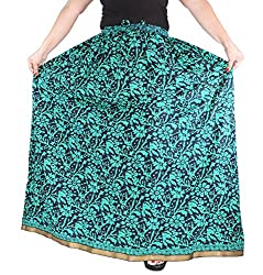 Aura Life Style Cotton Long Skirt (ALSK2139P,Green,Free)
