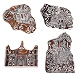 Hashcart Elephant Pattern Mughal Design Hand-Carved Wooden Printing Motif (Set of 4) - Christmas Décor (Color: # 1119, Tamaño: Set of 4)