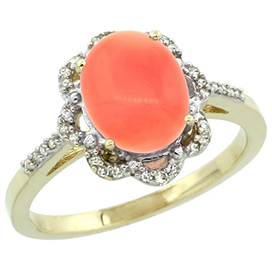9ct Yellow Gold Diamond Halo Natural Coral Ring Oval 9x7mm, sizes J - T