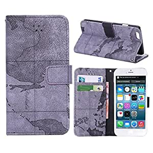 World Map Pattern Stand Wallet Leather Case Cover For iPhone 6 6s 4.7 inch - Grey
