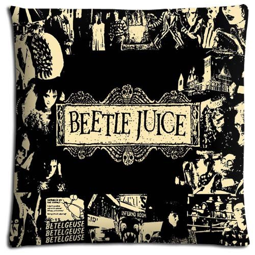 16x16inch 40x40cm livingroom pillow shells case Polyester + Cotton environmentally MACHINE WASHABLE Beetlejuice tv