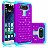 LG V20 Case,Berry Accessory(TM) Studded Rhinestone Crystal Bling Hybrid [ Dual Layer ] Armor Case Cover for LG V20 With Free Berry logo stand holder (Purple/Teal)
