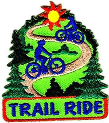 """[Single Count] Custom and Unique (2 1/4"""" by 2"""" Inches) Sports Games Exercise Outdoors """"Trail Ride"""" Bike Riders Iron On Embroidered Applique Patch {Green, Blue, Red, and Yellow Colors}"""