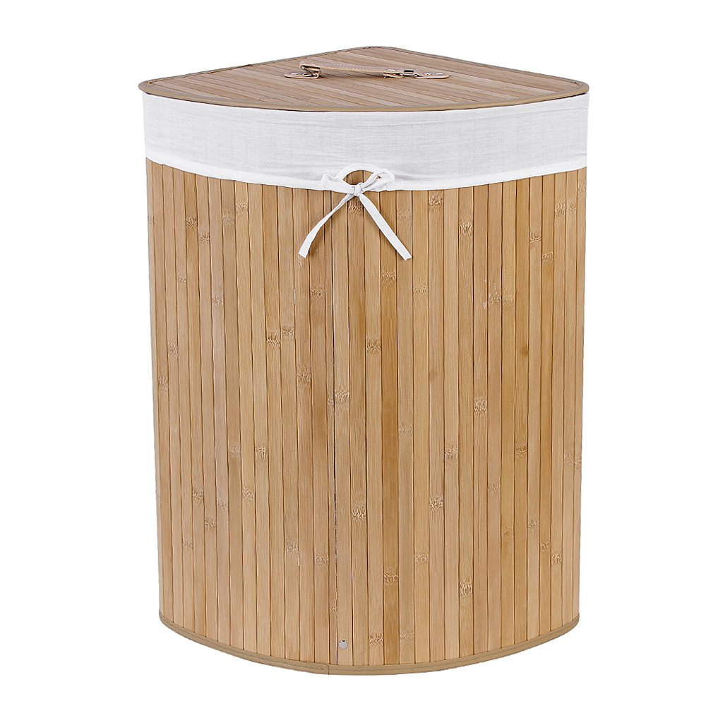 Corner Lined Bamboo Laundry Bin With Lid