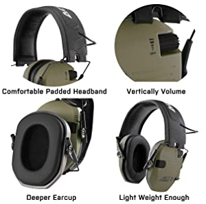ACTFIRE Shooting Ear Protection, Electronic Ear Protection NRR 23dB Noise Reduction Sound Amplification Safety Earmuffs Ultimate Combat Shooting Muff Design Perfect for Shooting Hunting Mowing (Color: MATTE OD)