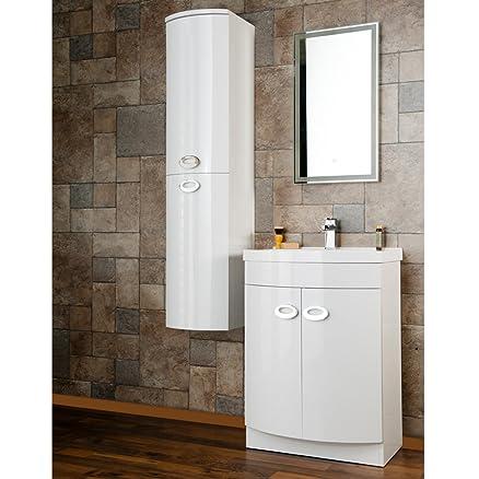 JTPickfords-Bathrooms.co.uk - Combinazione di mobile bagno con specchio e colonna, modello Emperor, a forma di D, colore: bianco lucido