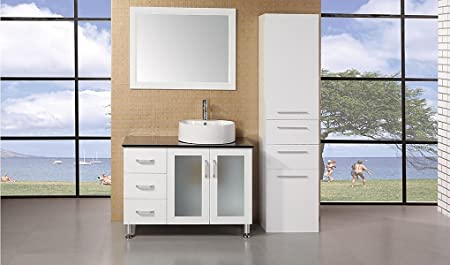 "Malibu Single Sink Modern Bathroom Vanity Width: 36"", Finish: Pearl White"