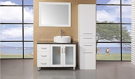 "Malibu Single Sink Modern Bathroom Vanity Width: 36"", Finish: Pearl White"