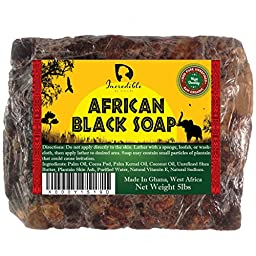 #1 Best Quality African Black Soap - Bulk 5lb Raw Organic Soap for Acne, Dry Skin, Rashes, Burns, Scar Removal, Face & Body Wash, Authentic Beauty Bar From Ghana West Africa - Incredible By Nature