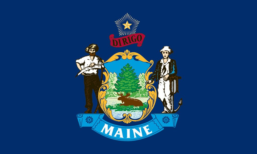 Maine state flag coloring pages usa for kids