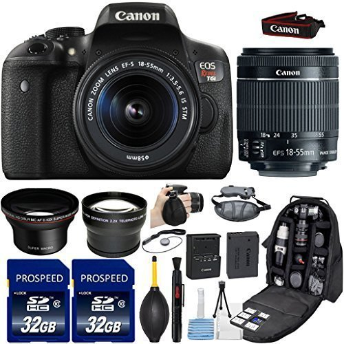 Canon-EOS-Rebel-T6i-DSLR-Camera-with-18-55mm-IS-STM-Lens-Kit-Includes-58mm-HD-Wide-Angle-Lens-22x-Telephoto-Lens-2Pcs-32GB-Commander-Memory-Cards-Backpack-Case-Grip-Strap-Cleaning-Kit