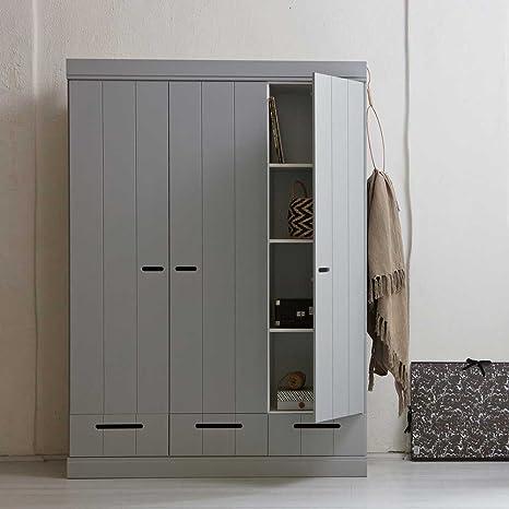 Schlafzimmer Kleiderschrank in Hellgrau skandinavisches Design Pharao24