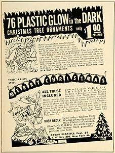 1951 Ad Rabar Plastic Glow Dark Christmas Tree Ornament - Original Print Ad