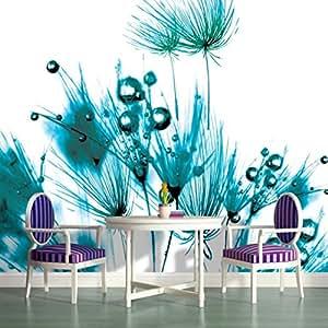 Turquoise dandelions on white wallpaper mural for Amazon mural wallpaper