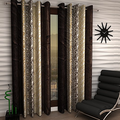 Home Sizzler Abstract 4 Piece Eyelet Polyester Door Curtain Set - 7ft , Brown