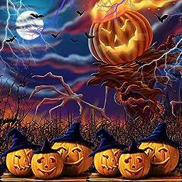 GladsBuy Scary Pumpkins 10\' x 10\' Digital Printing Photography Backdrop Halloween Theme Anti-UV Studio Background YHB-305