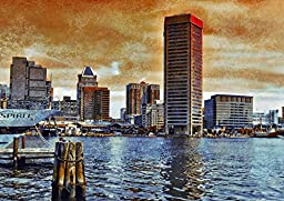 Original Baltimore Art Print - Inner Harbor Dawn