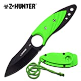 Neck Knife and Sheath. For Tactical Warrior, Men, Women! Best Small Fixed Blade with Paracord. Use for Survival, Keep Hidden, Finger Hole. Thin Green Full Tang Necklace or Boot. Z-hunter. New.