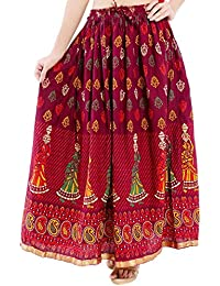 Rangsthali Cotton Printed Straight Long Skirt For Women (size: Length- 38 Inches) Waist- Non Stretch- 26 X After...