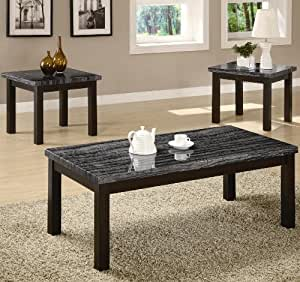 Amazoncom 3pc coffee table set with dark gray and black for Grey marble coffee table set
