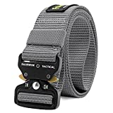 Fairwin Tactical Belt, Military Style Webbing Riggers Web Belt with Heavy-Duty Quick-Release Metal Buckle, Gray