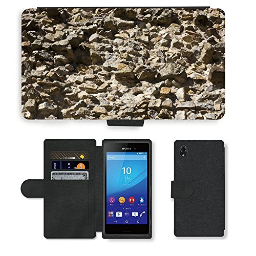 pu leder wallet case folio schutzh lle m00156049 naturstein mauer sand steinmauer sony. Black Bedroom Furniture Sets. Home Design Ideas
