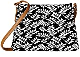 Snoogg White Leaf Black Pattern Designer Womens Carry Around Sling Bags