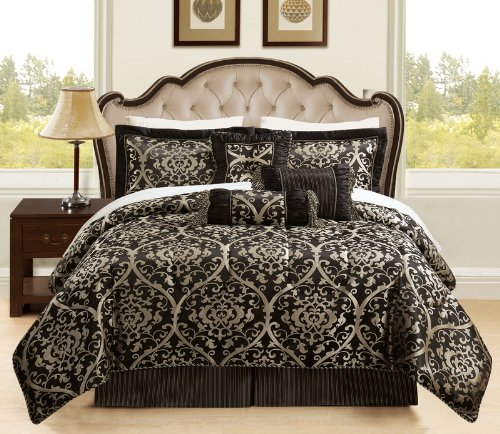 7 Piece King Prague Jacquard Black And Gold Comforter