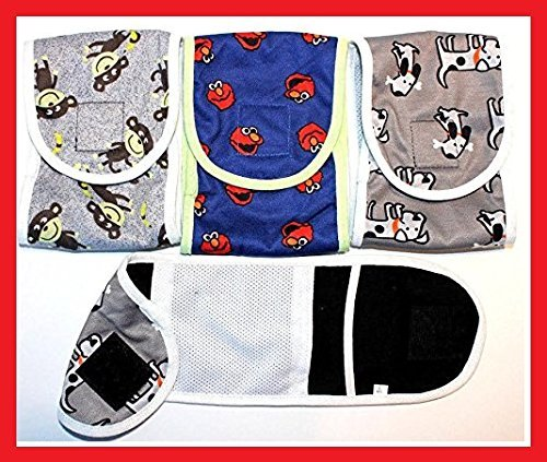 "SET - 3pcs Dog Puppy Diaper MALE Boy Belly Band Reusable Washable for SMALL Dog Breeds (Gray - Blue - Gray, S - Waist 10"" - 12"")"