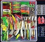 275pcs釣りの餌セットはカエルの餌を含むソフト釣りルアーハードメタル餌VIBラトルクランクポッパーミニチュアメタルジグフック無料タックルボックスとトラウトバスサケ用