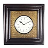 Home And Bazaar Traditional Rajasthani Black Square Wooden Black Wall Clock With Brass Finish