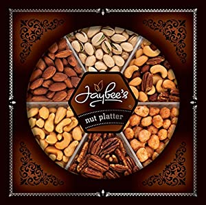 Jaybee's Gourmet Nut Gift Tray (Extra Large) Elegant Design, Top Quality Nuts, Vegetarian Friendly and Kosher Certified