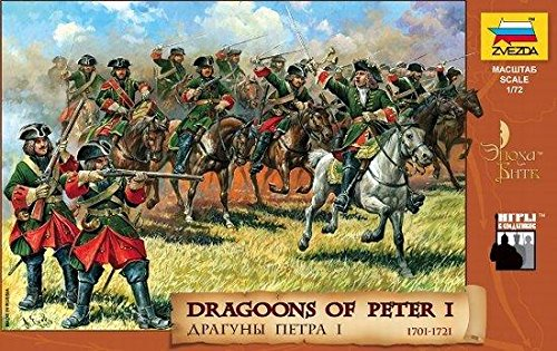 Dragoons of Peter I 1701-1721 (10 Mounted/9 Foot Soldiers & 12 Horses) 1/72 Zvezda - 1