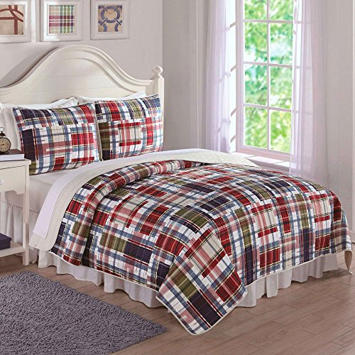Laura-Hart-Navy-Khaki-Preppy-Plaid-Quilt-Set