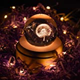Projection LED Light-3D Crystal Ball Music Box Luminous Rotating Musical Box-Wood Base Best Gift for Birthday Christmas (Dandelion) (Color: Dandelion)