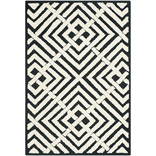 Safavieh Newport Collection NPT436B Hand-Hooked Black and White Cotton Area Rug, 2 feet by 3 feet (2' x 3')