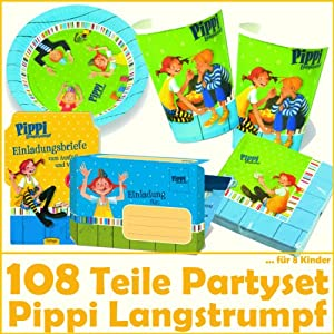 108 teiliges party set pippi langstrumpf f r kindergeburtstag mit 8 kinder teller becher. Black Bedroom Furniture Sets. Home Design Ideas