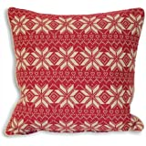 Riva Home Snowflake Nordic Scandinavian Christmas Cushion Cover, Fuchsia, 45 x 45 Cm