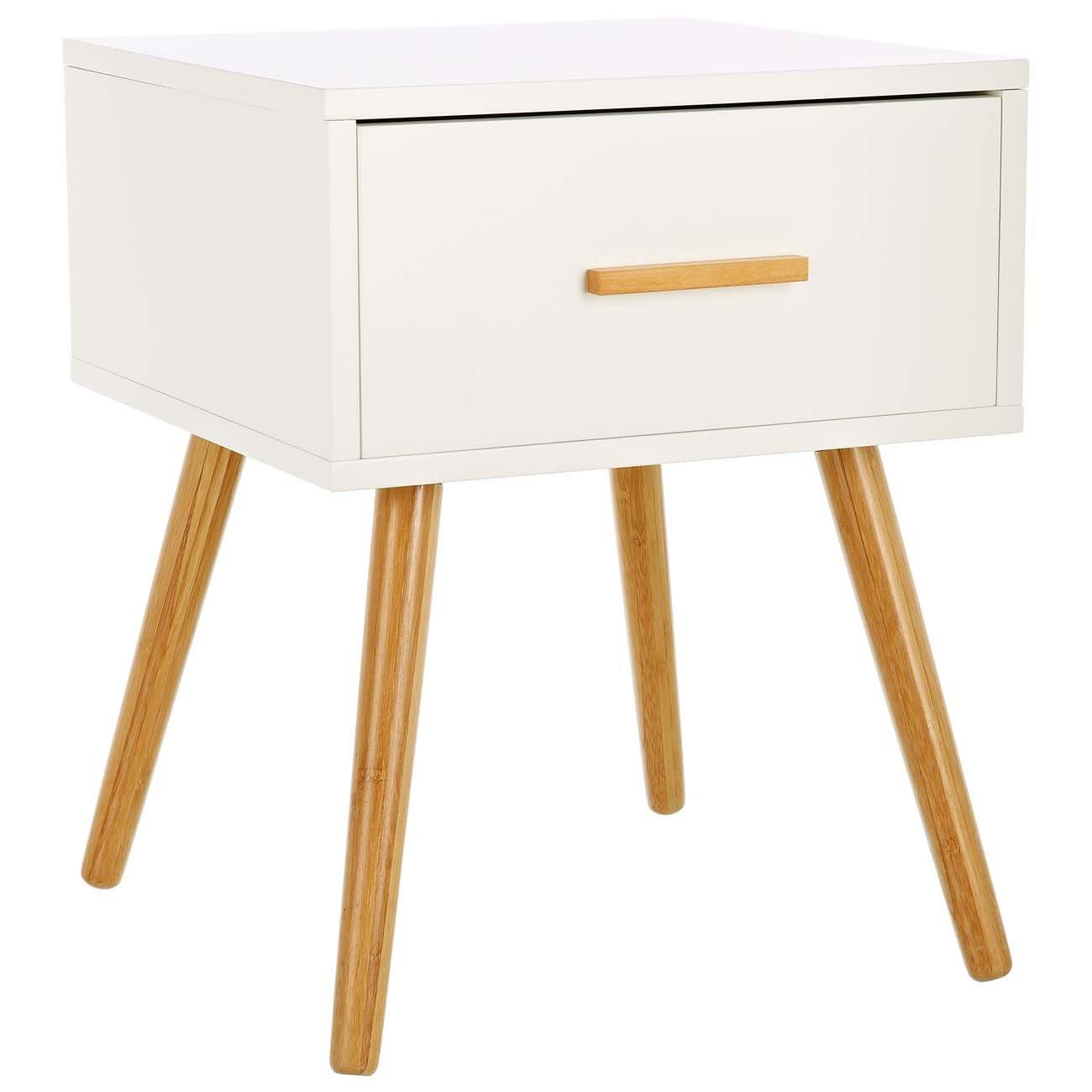 LOMOS® No.4 Beistellschrank aus Holz in weiß mit einer Schublade im modernen RetroDesign    Kritiken und weitere Informationen
