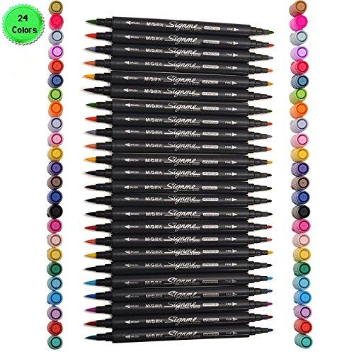 set-di-24-colori-base-di-acqua-inchiostro-spazzola-fine-2-punte-art-graphic-disegno-pennarello