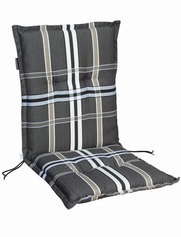 6 Stück MADISON Dessin Nils Sitzpolster für Stapelsessel, Stuhlauflage niedrig, Niedriglehner 100% Polyester, 100 x 50 x 8 cm, in taupe