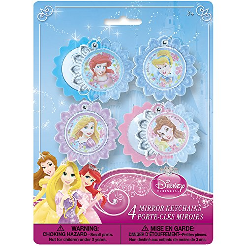 Unique Disney Princess Mirror Keychain Party Favors (4 Count)