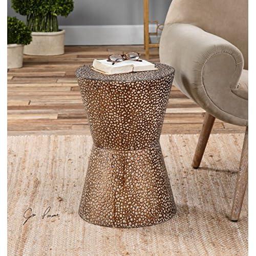modern copper bronze drum table pierced hammered metal end round