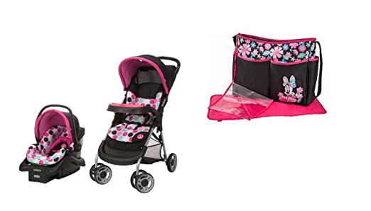 Baby Stroller Travel System and Diaper Bag Bundle (Minnie Dottie)