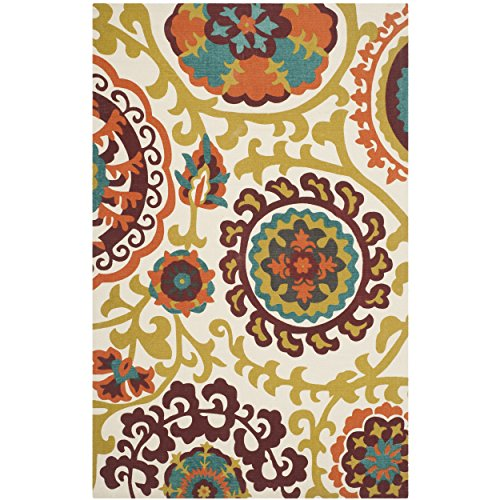 Safavieh Cedar Brook Collection CDR132D Handmade Orange Cotton Area Rug, 5 feet by 8 feet (5' x 8')